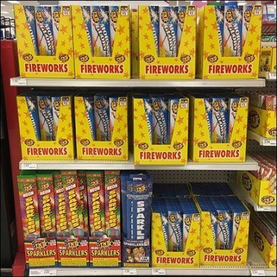 Fireworks Shelf-Edge Merchandising Display