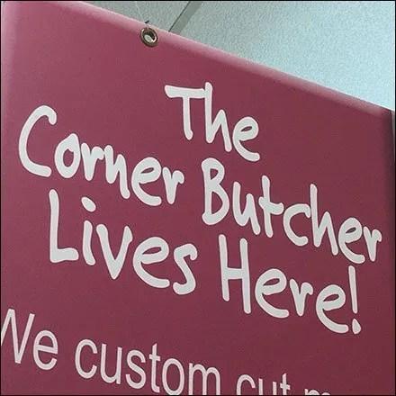 Friendly Corner Butcher In-Store Branding Sign