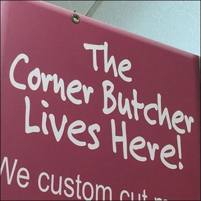 Friendly Corner Butcher In-Store Branding Sign