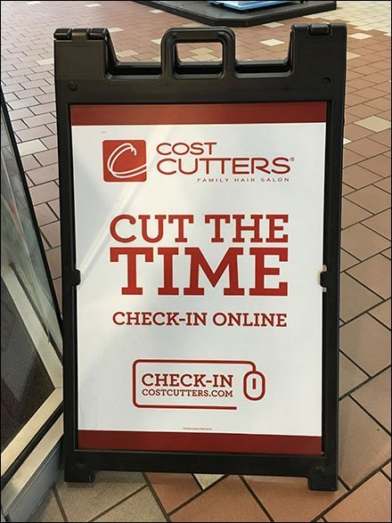 Cut Delay Check-In Online Sidewalk Sign