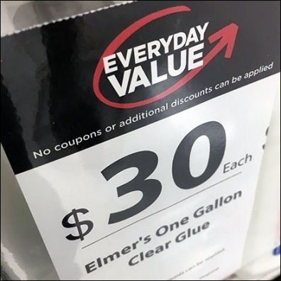 Elmers Gallon Glue Clear Vinyl Pouch Pricing Feature