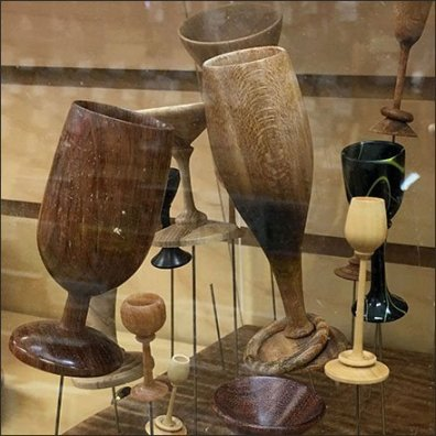 Lathed Wood Chalice Museum Case Display
