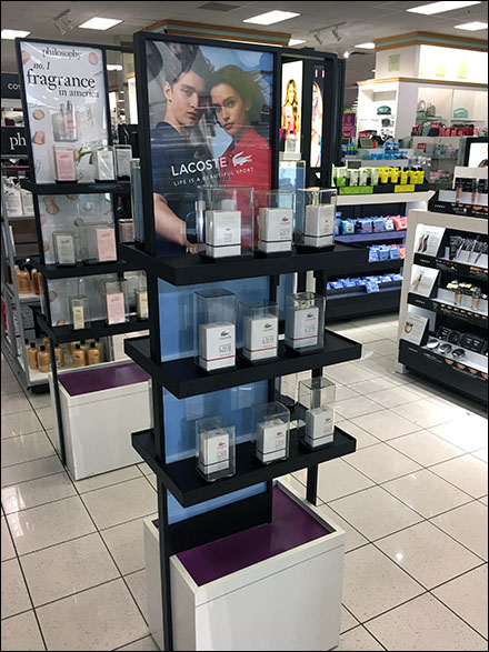 Freestanding Lacoste Fragrance Tower Display