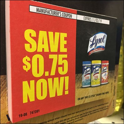 Lysol Padded-Coupon Shelf-Edge Promotion