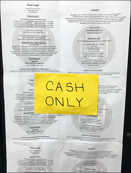 Tina's Courthouse Cafe Cash-Only Notice