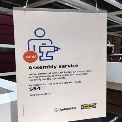 IKEA New Assembly Service Ceiling Sign Feature