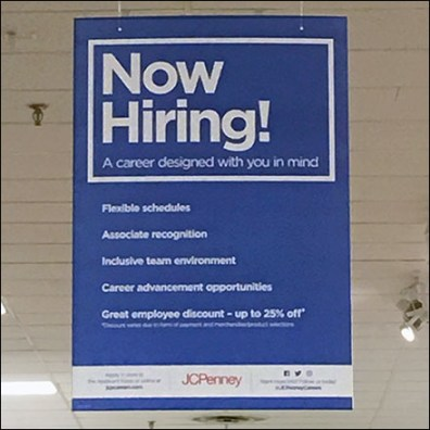 Now Hiring For Careers Ceiling Sign