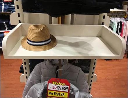 Upright-Mount Solid-Shelf Hat Merchandiser