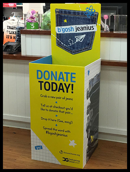 Donate-New-Clothing Collection Bin In-Store