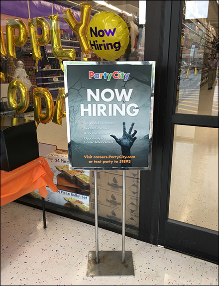 Party-City Halloween-Hiring Freestanding Sign
