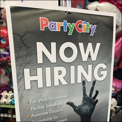 Party-City Halloween-Hiring Upright-Pole-Sign