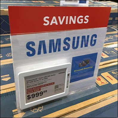 Electronic-Price-Tag Table-Top Sony Sign-Holder