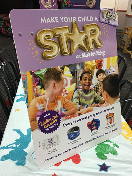 Chuck E Cheese Birthday Party Star Sign