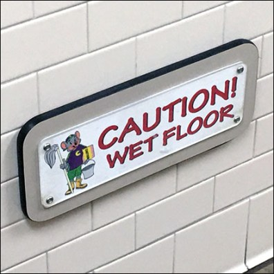 Chuck E Cheese Baseboard-Height Wet Floor Sign
