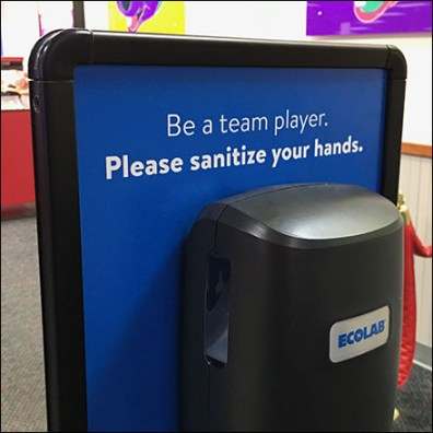 Chuck E Cheese Team Player Hand Sanitizer Station Feature