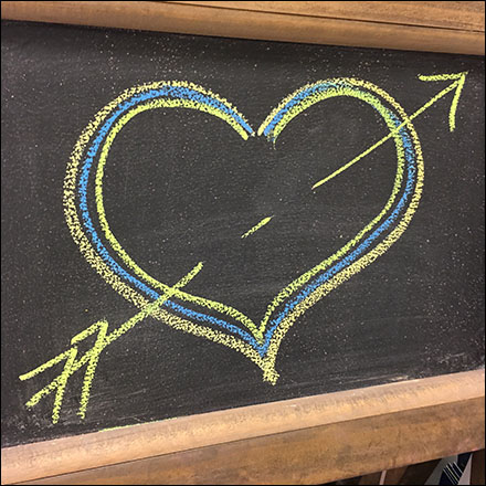 Valentine's Day Hand-Drawn Heart Chalkboard