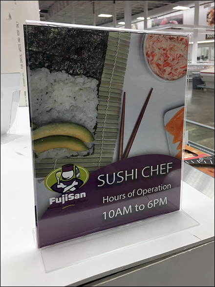 Sushi-Chef Hours of Operation Sign