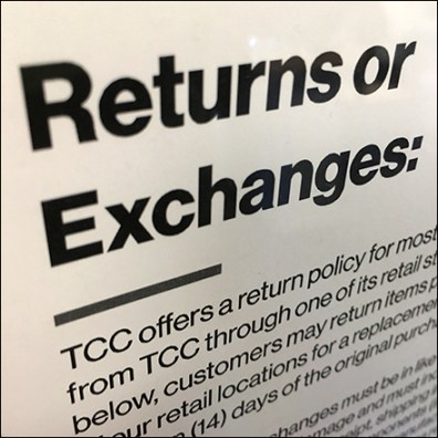 Returns or Exchanges Policy Statement
