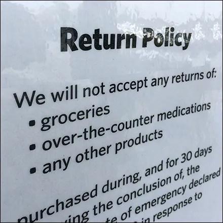 CoronaVirus Universal Return Policy Conditions
