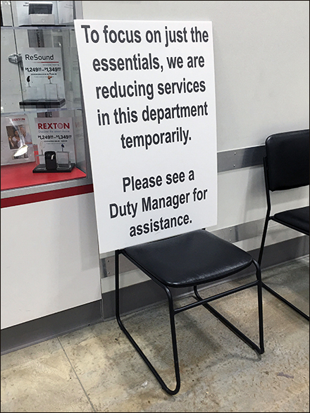 Reduced Services CoronaVirus Notice