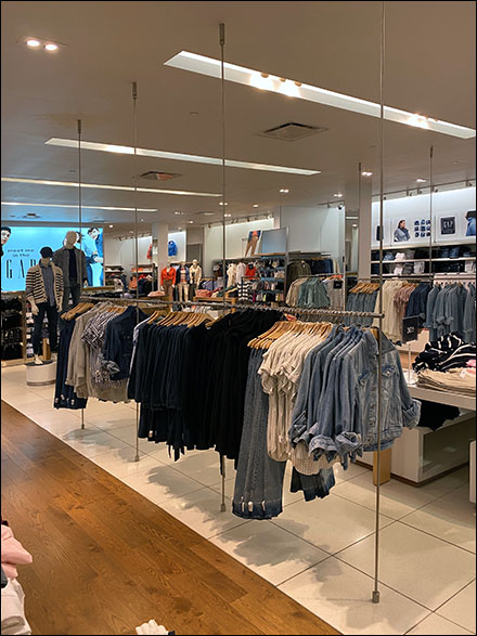 Ceiling-Support Apparel Hangrail Display