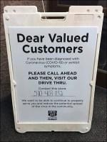 CoronaVirus Customer Drive-Thru Plea