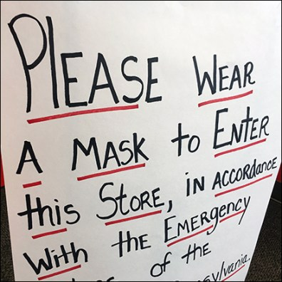 Hand-lettered Wear-A-Mask-to-Enter Notice