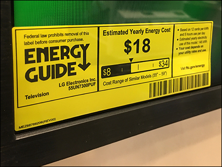 Horizontal Design Energy-Rating-Guide Label