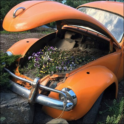 Volkswagen Beetle Garden Planter Display