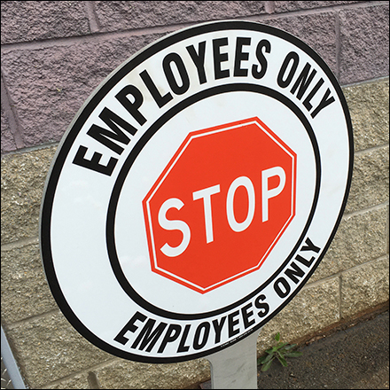 Slotted Slide-Together Employees-Only Sign