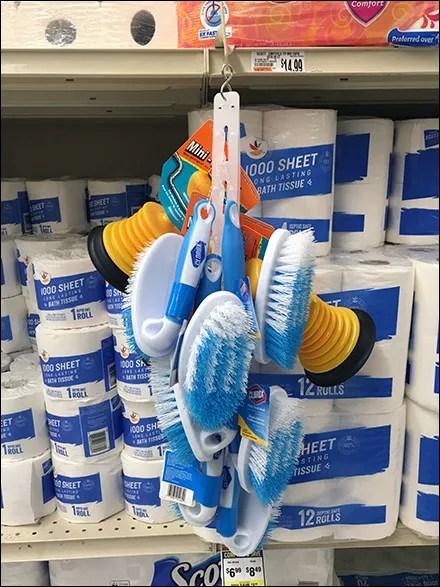 Shelf-Edge Scrub-Brush Strip Merchandiser