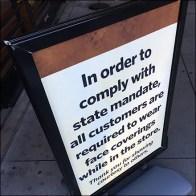 CoronaVirus State-Mandated Face-Mask Sidewalk Sign