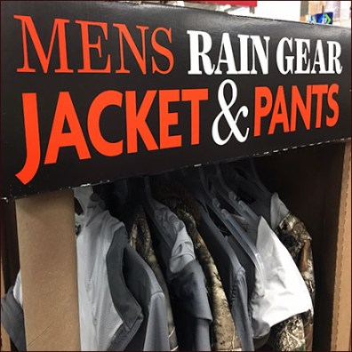 Outdoor Rain Gear Pallet Display