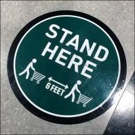 Dick's CoronaVirus Checkout Stand-Here Floor Graphic