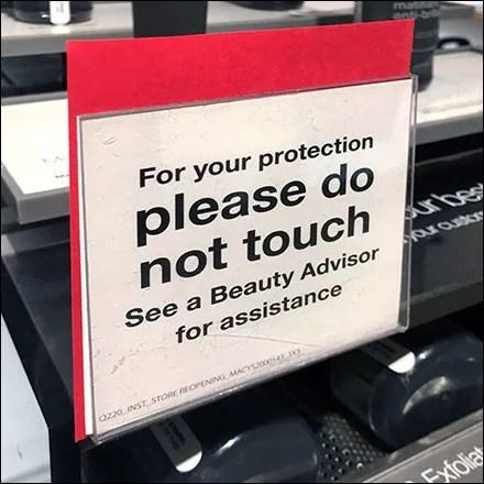 Macy's Do-Not-Touch Cosmetics CoronaVirus Advisory