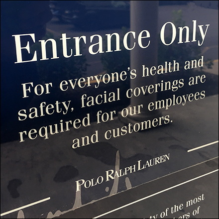 Ralph Lauren CoronaVirus Entrance Only Notice