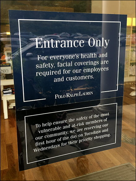 Ralph Lauren CoronaVirus Entrance Only Notice
