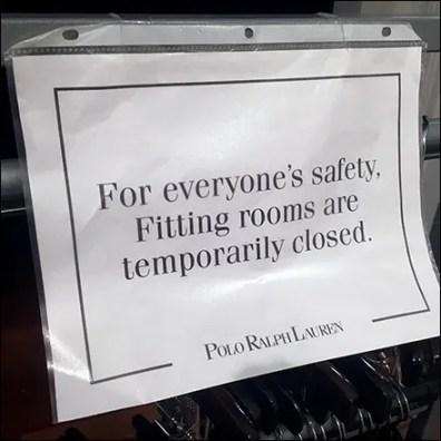 Ralph Lauren CoronaVirus Fitting Room Closed
