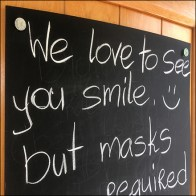 Ethnic Grocery Face Mask Chalkboard Notice