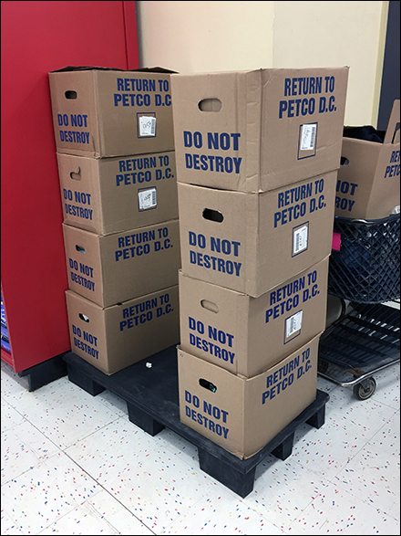 Petco Do-Not-Destroy Corrugated Tote Directive
