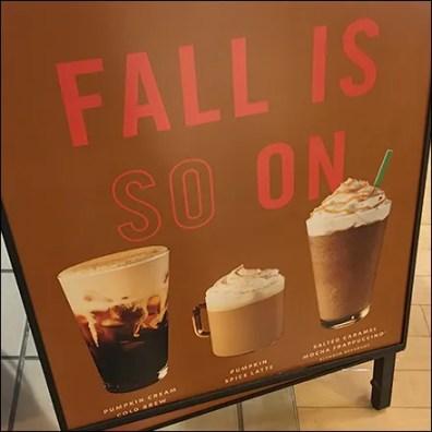 Starbucks Fall-Is-On A-Frame Sidewalk Sign