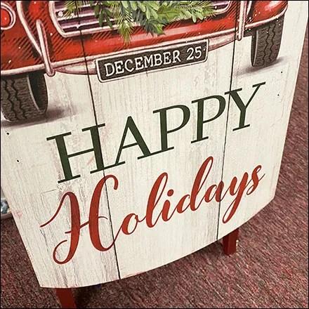 Vintage Happy-Holiday Sledding Wish