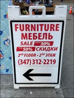 2nd-Floor Furniture Sidewalk Sale Sign