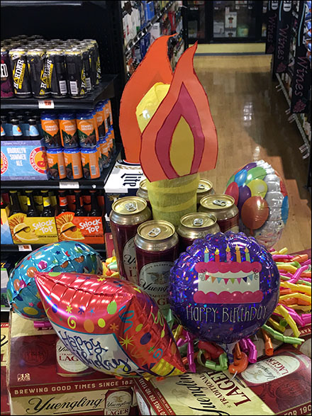 Happy Birthday Beer Inflatable with Candle