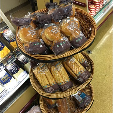 Stepped Wicker Basket Bread Display