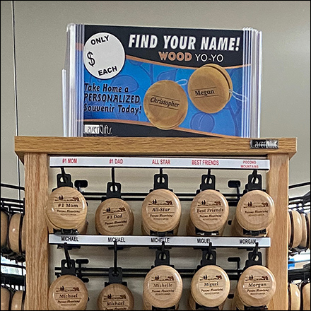 Wood Yo-Yo Spinner Sign Holder