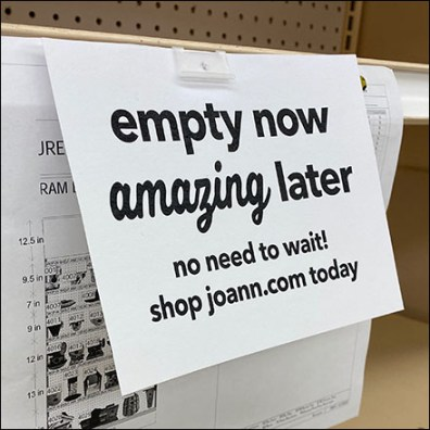 Empty-Now Amazing-Later Shelf-Edge Sign