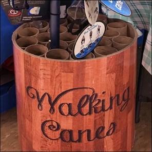 Corrugated-Tube Walking Cane Drum Display