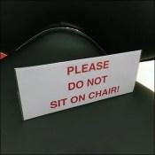 Do-Not-Sit Bar Seating Warning
