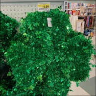 St. Patrick's Day Green-Tinsel Shamrock Wreath